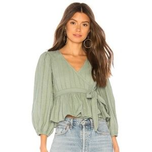 Tularosa 'Candace' Wrap Top in Sage Green
